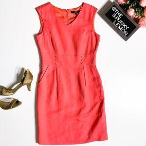 ALEX MARIE coral pink sleeveless button dress